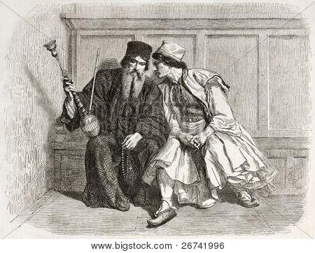 Confession old illustration. Created by Bida, published on Le Tour du Monde, Paris, 1860