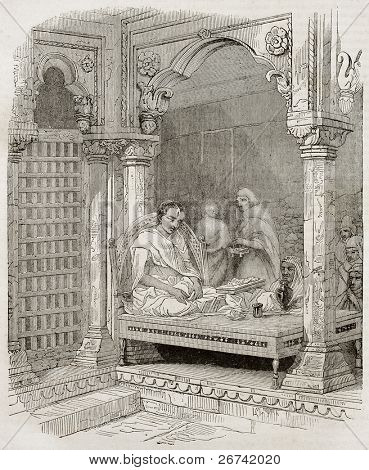 Young Brahmin in temple in Benares, old illustration. Created by Best and Francais after Prinsep. Published on Magasin Pittoresque, Paris, 1840.