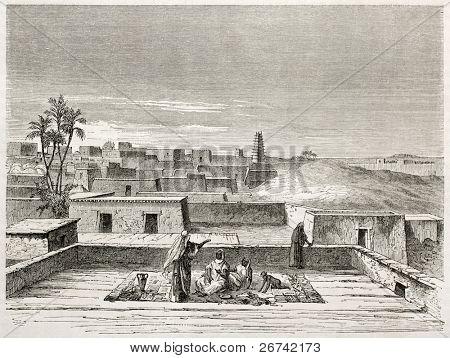 Antiga visão de Agadez, Niger do Norte. Criado por Lancelot após Barth, publicado em Le Tour du Monde, Par