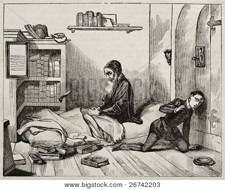 Petrus Ramus (Pierre de la Ramee) waiting his killer, old illustration. Created by Fleury, published on Magasin Pittoresque, Paris, 1840