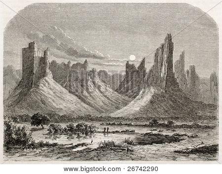 Hombori montanhas antiga visão. Criado por Lancelot após Barth, publicado em Le Tour du Monde, Paris, 1