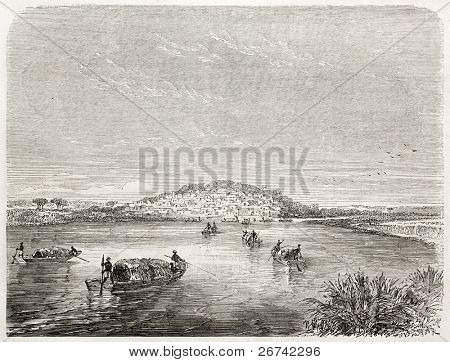 Kabara old view, Timbuktu port, Mali. Created by Rouargue after Barth, published on Le Tour du Monde, Paris, 1860