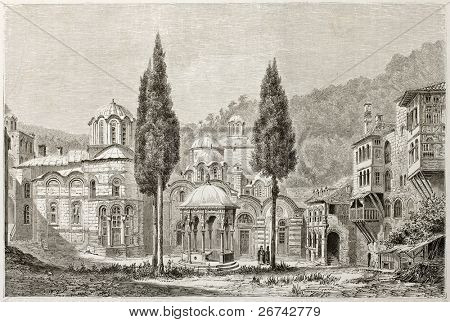 Kiliandary monastery court, old illustration, Greece. Created by Lancelot after photo by unknown author, published on Le Tour du Monde, Paris, 1860