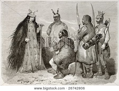 Tungusic sorceress and other people old illustration. Created by Adam after Rechberg, published on Le Tour du Monde, Paris, 1860