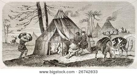 Tungusic encampment old illustration. Created by Adam after Sarytchew, published on Le Tour du Monde, Paris, 1860