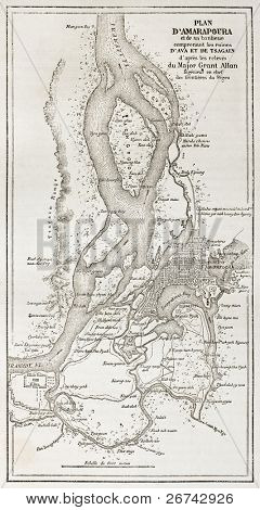 Amarapura old plan, Burma. Created by Grant and Erhard, published on Le Tour du Monde, Paris, 1860