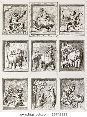 Esculturas humorísticas no mosteiro real de Amarapura, antiga ilustração. Criado afte Lancelot e Murand