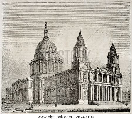 St Paul Cathedral old view, London. By unidentified author, published on Magasin Pittoresque, Paris, 1840