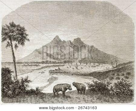 Paisagem da região antiga Fazogli, sul do Egipto. Criado por Lancelot após Russegger, publicar