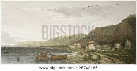 Scaletta old view, Sicily. Created by De Wint and Goodall, printed by McQueen, publ. in London, 1821. Ed. on Sicilian Scenery, Rodwell and Martins, London, 1823