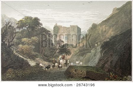 Abazia ruins, near Messina, Sicily. Created by De Wint and Goodall, printed by McQueen, publ. in London, 1821. Ed. on Sicilian Scenery, Rodwell and Martins, London, 1823