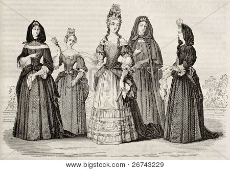Madame de Maintenon and Les Demoiselles de Saint-Cry.  Created by Watier after print of Hennin collection, published on Magasin Pittoresque, Paris, 1842