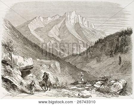 Mount Aurouze old view, France. Created by Francais after Muston, published on Le Tour du Monde, Paris, 1860
