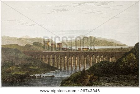Aqueduct near Palermo, Sicily, old view. Created by De Wint and Goodall, printed by McQueen, publ. in London, 1822. Ed. on Sicilian Scenery, Rodwell and Martins, London, 1823