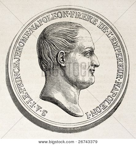 Jerome Bonaparte medal, old illustration. Created by Godefroy-Durand after Barre, published on L'Illustration, Journal Universel, Paris, 1860