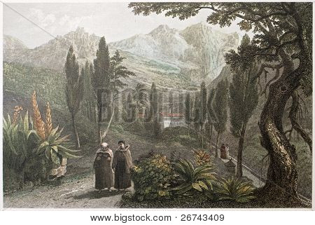 Santa Maria di Gesu Convent, Palermo surroundings, Sicily. Created by De Wint and Goodall, printed by McQueen, publ. in London, 1821. Ed. on Sicilian Scenery, Rodwell and Martins, London, 1823