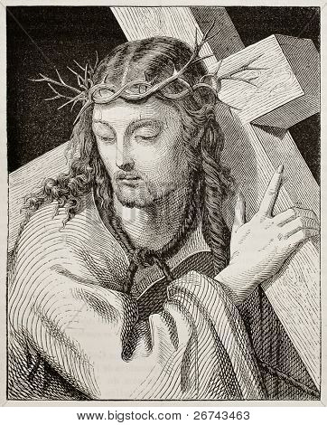 Jesus carrying the cross. Created by Del Piombo, published on Magasin Pittoresque, Paris, 1842