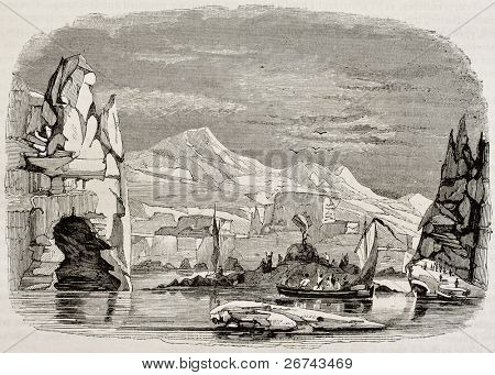Adelie land discovery in Antarctica, by French corvettes Astrolabe and Zelee. Created by Lebreton, published on Magasin Pittoresque, Paris, 1842