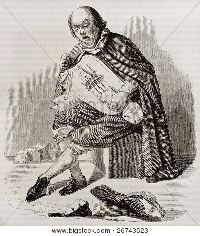 Hurdy gurdy street player old illustration. Created by Ribera, published on Magasin Pittoresque, Paris, 1842