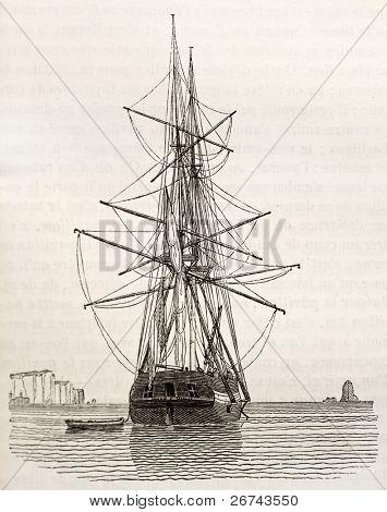 Brig old illustration, stern view. By unidentified author, published on Magasin Pittoresque, Paris, 1840