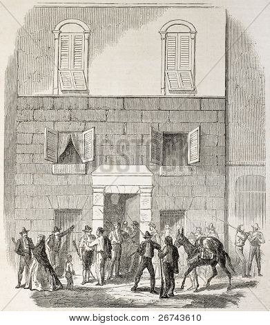 Doctor Bartani house old illustration, Genoa, Italy (expedition to Sicily enrolment place). Created by Godefroy-Durand, published on L'Illustration, Journal Universel, Paris, 1860