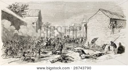 Battle near Milazzo, Sicily, between Neapolitan army and Garbialdian troops. Created by Godefroy-Durand, published on L'Illustration, Journal Universel, Paris, 1860