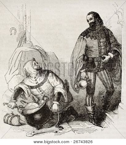 Guest and cook old illustration, characters of Canterbury Tales. By unidentified author, published on Magasin Pittoresque, Paris, 1842