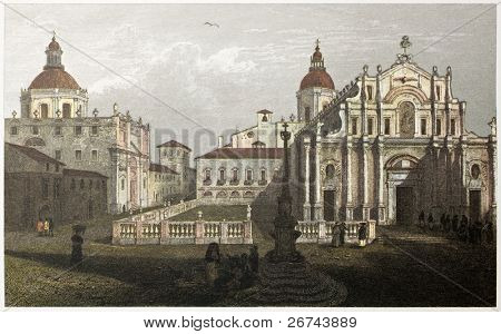 Elephant square old view, Catania, Sicily. Created by De Wint and Goodall, printed by McQueen, publ. in London, 1821. Ed. on Sicilian Scenery, Rodwell and Martins, London, 1823