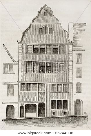 Beethoven birth house old illustration, Bonn, Germany. By unidentified author, published on Magasin Pittoresque, Paris, 1842