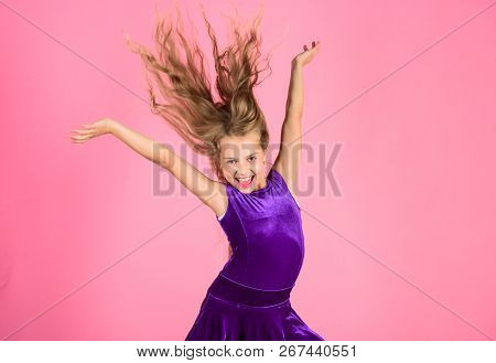 Ballroom Latin Dance Hairstyles  Kid Girl With Long Hair Wear Dress On Pink  Background  Things You N poster