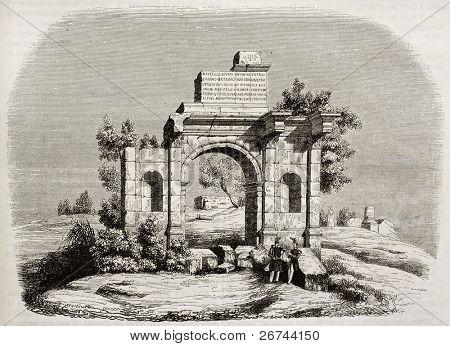 Arco de Caracalla en Djemila, Argelia. Autor no identificado, publicada en Magasin Pittoresque, Par