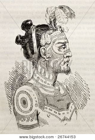 Marquesas islands King old engraved portrait. Created by Krusenstern, published on Magasin Pittoresque, Paris, 1843