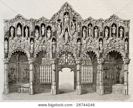 Rood screen in Saint-Nicolas church, Dixmude, Belgium. By unidentified author, published on Magasin Pittoresque, Paris, 1843