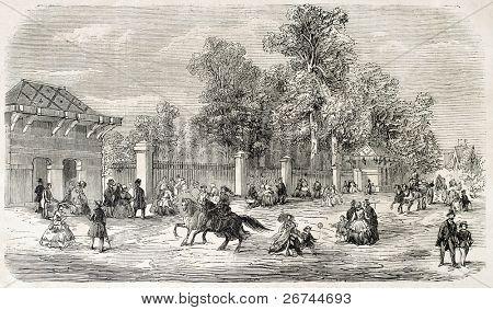 Jardin d'Acclimatation entrance, Paris. Created by Provost, published on L'Illustration, Journal Universel, Paris, 1860