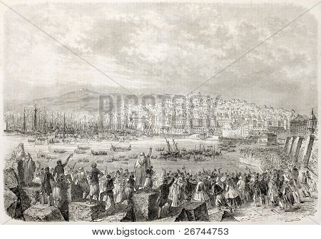 Napoleon III and Empress Eugenie landing in Algiers. Created by Provost after Marc and Bonnet,  published on L'Illustration, Journal Universel, Paris, 1860