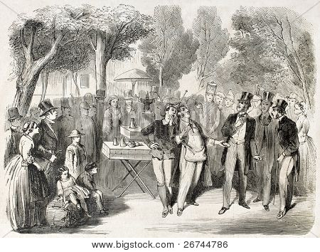 Theatre de la Gaite in Paris, old illustration. Created by Bayard, published on L'Illustration, Journal Universel, Paris, 1860
