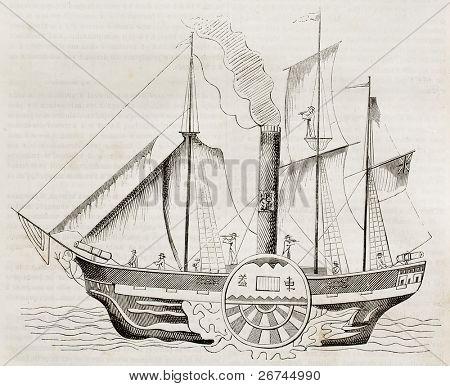 chinesische Dampfer alte Abbildung. von unbekannten Autor veröffentlicht am Magasin malerische, Paris, 1