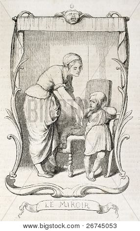 Woman helps her daughter to look herself in a mirror. By unidentified author, published on L'Illustration, Journal Universel, Paris, 1860