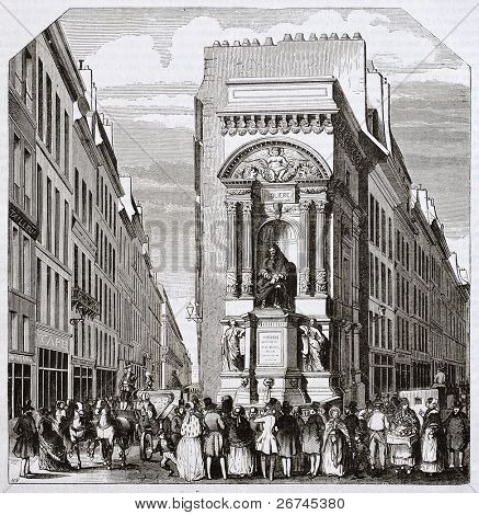 Fontaine Moliere alte Ansicht, Paris. Architekt Visconti, sculpted von Seurre und Pradier, veröffentlicht am m
