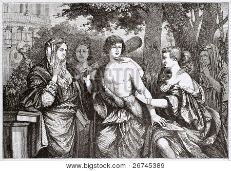 Hercules between vice and virtue, old illustration. Created by Lairesse, published on Magasin Pittoresque, Paris, 1844