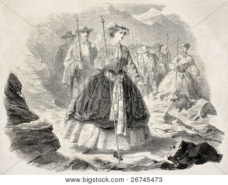Empress Eugenie excursion on the Mer de Glace (sea of ice), alpine glacier. Created by Janet-Lange, published on L'Illustration, Journal Universel, Paris, 1860