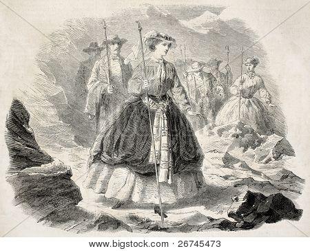 Empress Eugenie excursion on the Mer de Glace (sea of ice), alpine glacier. Created by Janet-Lange, published on L'Illustration, Journal Universel, Paris, 1860
