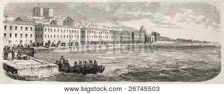 Neapolitan garrison in Reggio Calabria, Italy, waiting to board. Created by Gaildrau after Duvaux, published on L'Illustration, Journal Universel, Paris, 1860