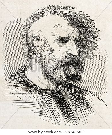 Mohammedan fakir old engraved portrait. By unidentified author, published on L'Illustration, Journal Universel, Paris, 1860