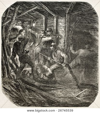 Groups of competitor miners brawling in a tunnel. By unidentified author, published on L'Illustration, Journal Universel, Paris, 1860