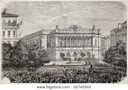 Marseilles exchange inauguration, old illustration. Created by Leroux, published on L'Illustration, Journal Universel, Paris, 1860