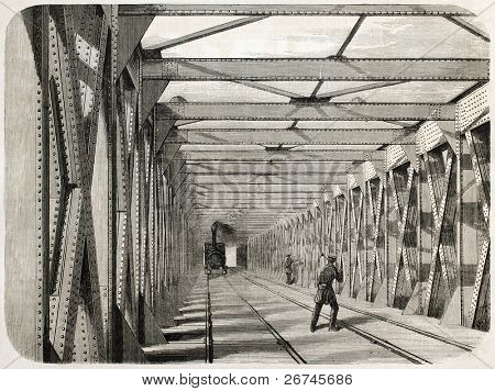 Train transit on railway iron bridge over the Garonne in Bordeaux, France. Created by Gaildrau, published on L'Illustration, Journal Universel, Paris, 1860