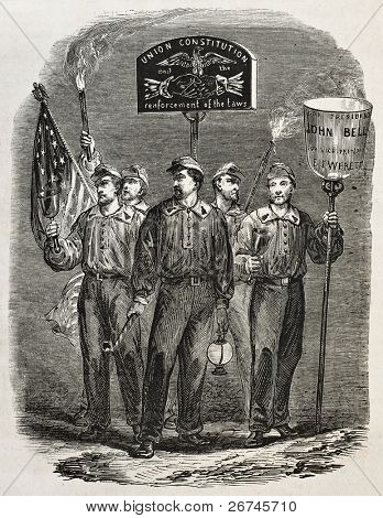 John Bell United States Presindential candidate supporters old illustration. Created by Mettais, published on L'Illustration, Journal Universel, Paris, 1860