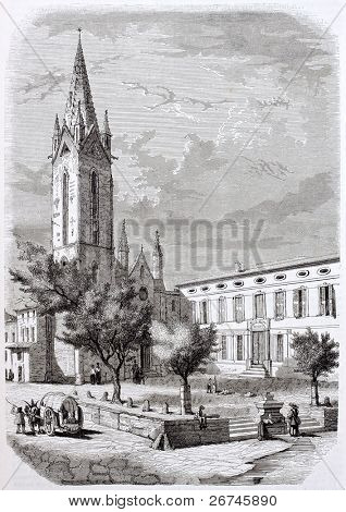 Saint-Jean de Malte and Museum old view, Aix-en-Provence. Created by Loubon and Montigneul, published on Magasin Pittoresque, Paris, 1844