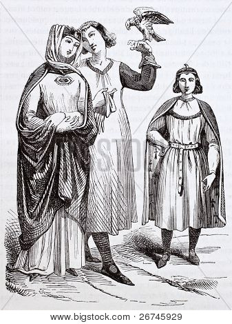 French medieval costumes old illustration: princess and chaperone holding a falcon . After Mallot and Martin, published on Magasin Pittoresque, Paris, 1844